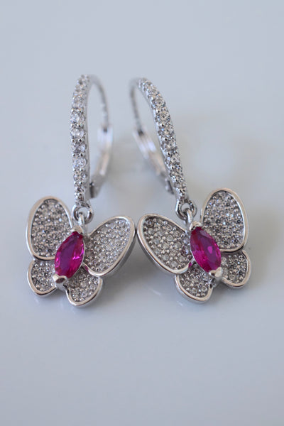 Sterling Silver Diamond And Ruby Butterfly Earrings