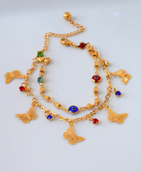 Double Row Butterfly Eye Anklet