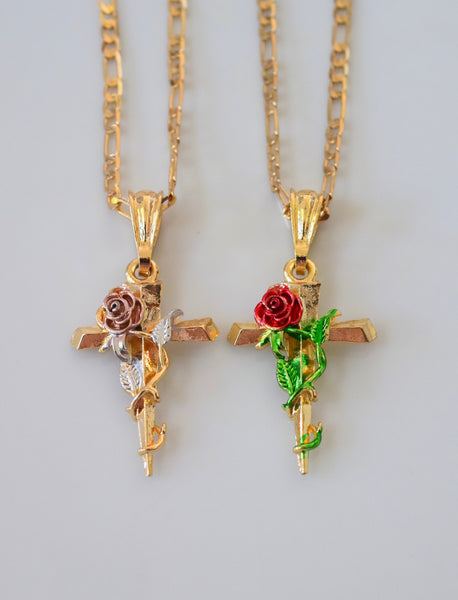 Rose Cross In 2 Styles With Free Extra Chain