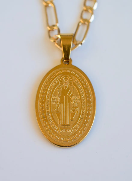 Gold Plated Oval Saint Benedict Necklace