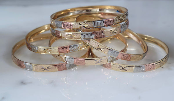 Tricolor Gold Plated 7 Bangle Set