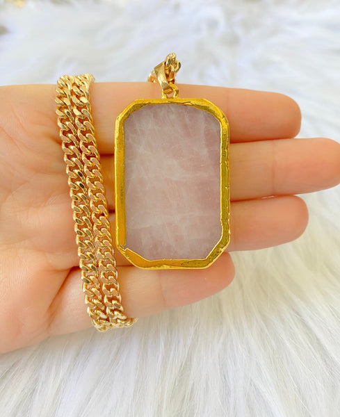 Natural Rose Quartz Necklace