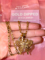 Gold Dipped Butterfly And Initial Necklace