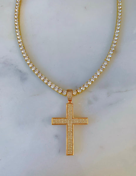 Iced Out Cross Necklace In Yellow With Optional Bracelet