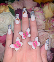 Pink Butterfly Ring