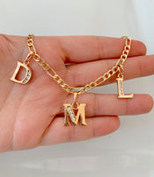 Gold Plated Diamond Inspired 2 To 6 Initial Anklet Or Bracelet
