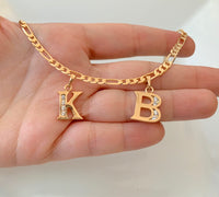 Gold Plated Diamond Inspired 2 To 8 Initial Necklace