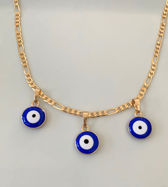Gold Plated Protective Eye Charm Necklace Or Anklet In 3 Color Choices