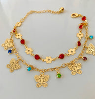 Double Row Butterfly Anklet