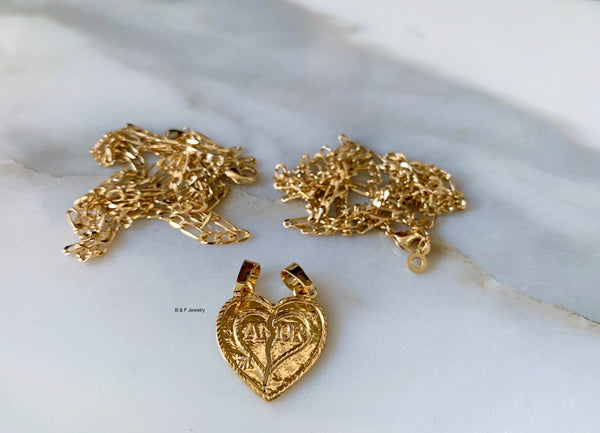 Gold Plated Breakable Heart Pendant With Two Chains