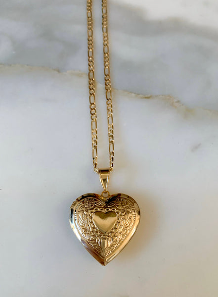 Floral Heart Shaped Two Photo Locket Necklace