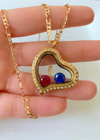 Floating Bling Birthstone Heart With 2 Chains