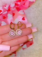 Pink Ice Halo Earrings