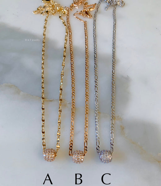 Bling Ball Necklaces In 3 Style Choices