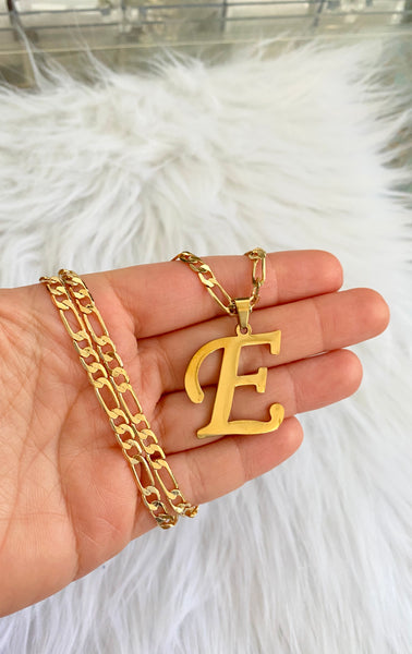 Medium Gold Plated Initial Necklace