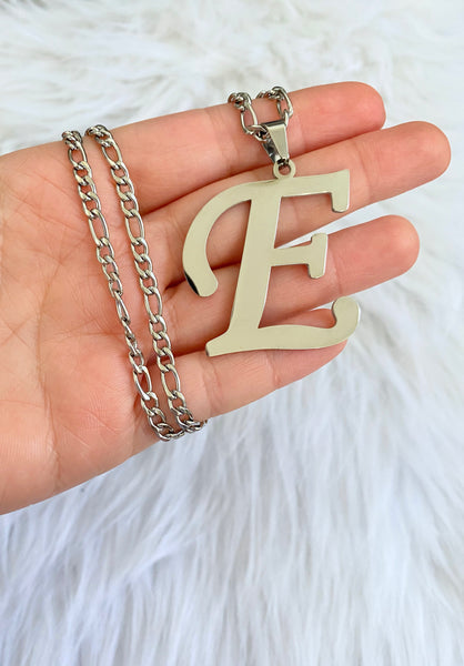 Large White Gold Plated Initial Necklace