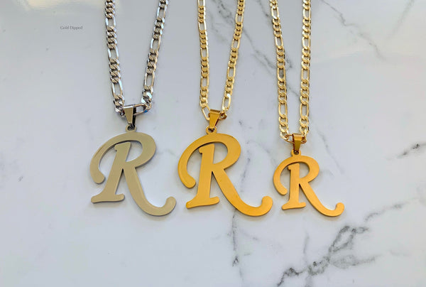 Yellow Gold Plated Large Or Medium Initial Necklace