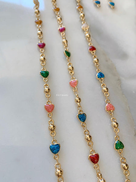 On Sale! Gold Dipped Sparkly Colorful Heart Jewelry Set: Necklace, Bracelet, Earrings