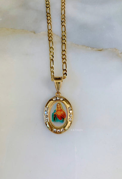 Gold Dipped Oval Virgin Mary Necklace