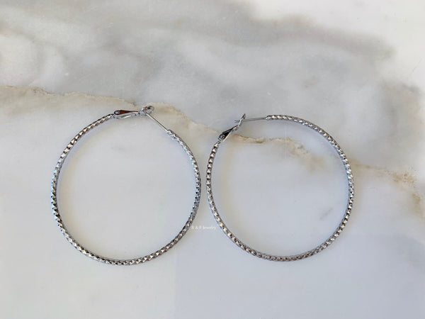 White Gold Dipped Diamond Cut Hoop Earrings