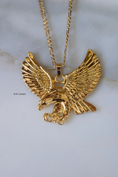 On Sale! Gold Plated Large Eagle Necklace In Two Sizes