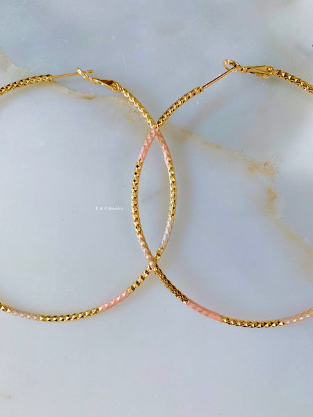 Diamond Cut Gold Dipped Hoops