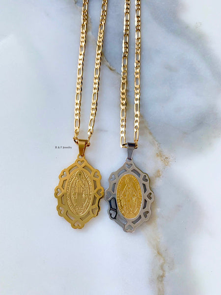 Gold Plated Virgin Mary Or Saint Ben Necklaces