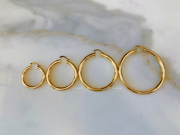 Yellow Gold Dipped Tube Hoops Available In Four Sizes