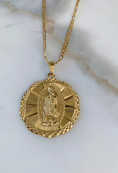 Large Round Virgin Mary Necklace
