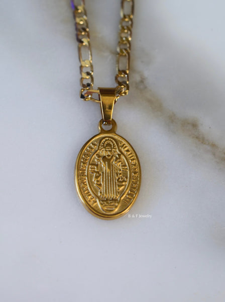 Gold Plated Oval Saint Ben Medalian Necklace