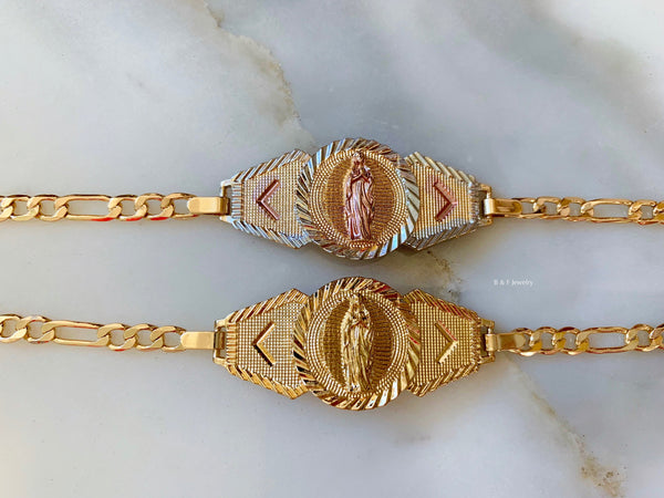 On Sale! Gold Dipped Virgin Mary Bracelet In 2 Color Choices