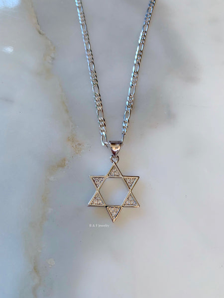 White Gold Dipped Star Of David Necklace