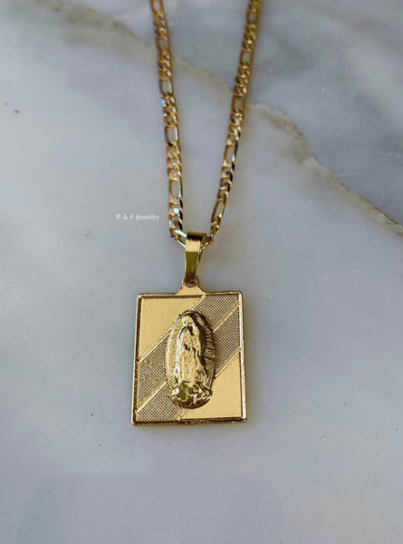 Gold Plated Square Virgin Mary Necklace