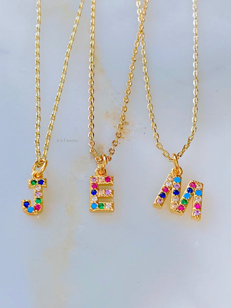 Sale! Gold Dipped Rainbow Stone Initial Necklace