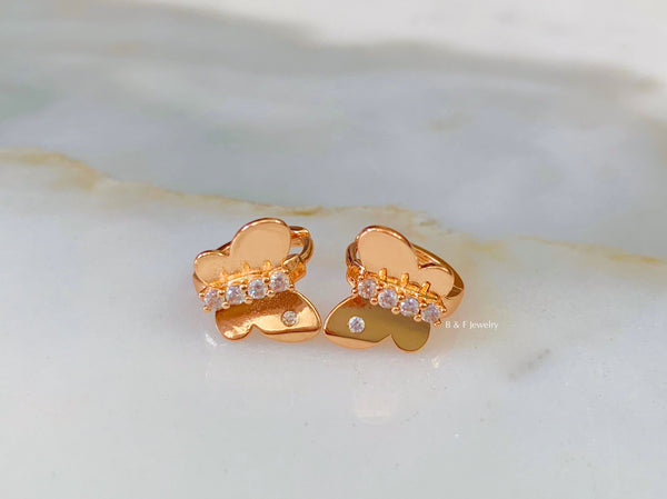 Rose Gold Dipped Butterfly Huggie Hoop Earrings