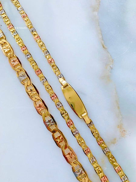 Tricolor Gold Dipped Chain Bracelets With Optional Necklace
