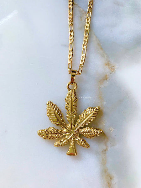 Gold Dipped Weed Leaf Necklace