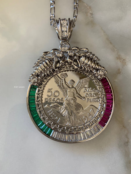 White Gold Plated Centenario Coin 50 Peso Necklace