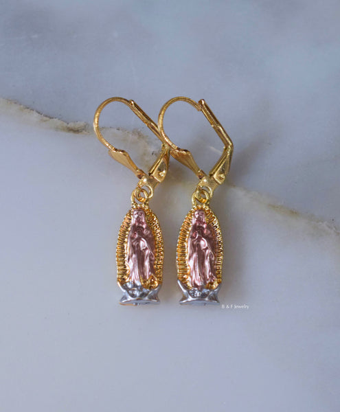 Tricolor Gold Plated Virgin Mary Dangle Earrings- Has Optional Matching Necklaces