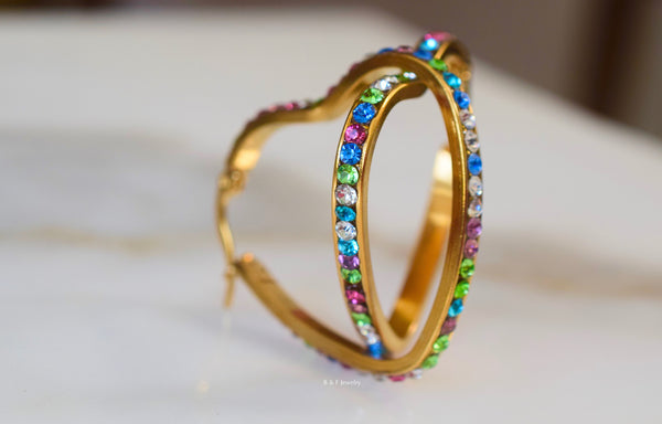 On Sale! Gold Plated Multicolor Stone Heart Shaped Hoop Earrings