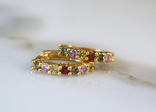 Gold Plated Multicolor Stone Huggie Hoops