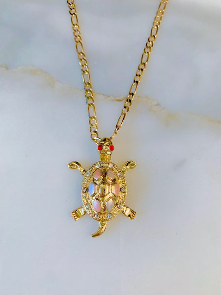 Tricolor Gold Plated Turtle Necklace