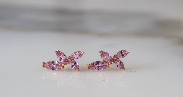 Rose Gold Plated Marquise Pink Stud Earrings