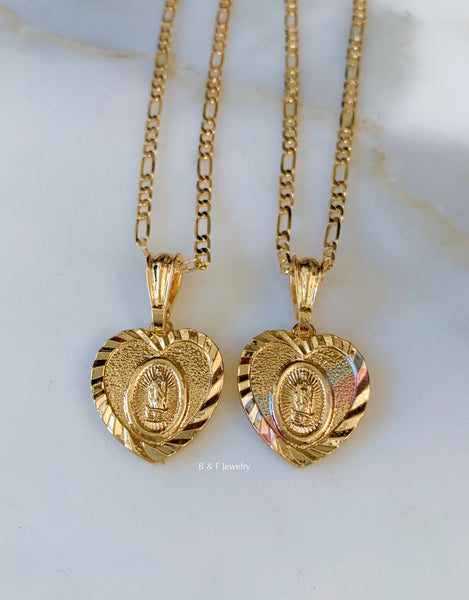 Gold Plated Virgin Mary Heart Necklace Available In 2 Styles