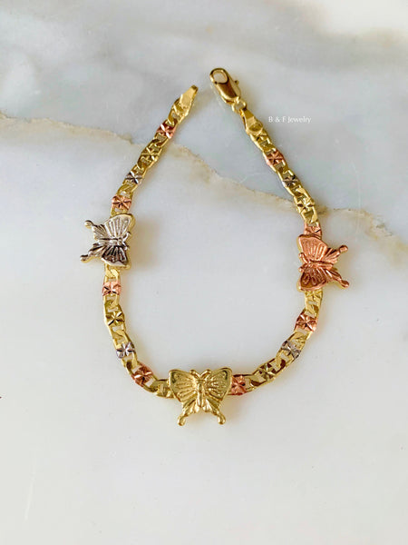 Tricolor Gold Plated Butterfly Bracelet