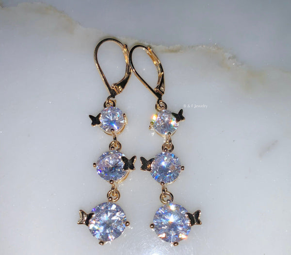 On Sale: Gold Plated CZ Dangle Earrings