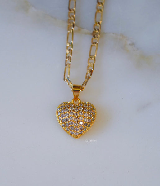 Gold Plated Diamond Inspired Heart Pendant