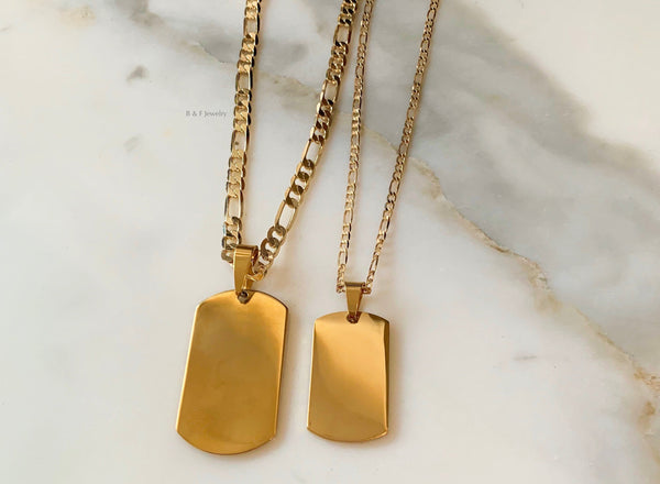 Gold Plated Dog Tag Necklaces In 2 Sizes