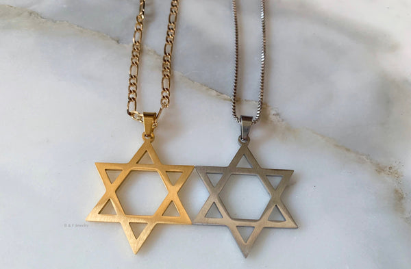 White Or Yellow Gold Plated Star Of David Necklace With Two Chain Style Options