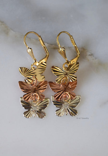 Tricolor Gold Plated Diamond Cut Butterfly Dangle Earrings